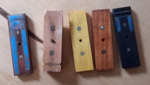 Modified Helder block is second from the left; the others are alternate block surface shims.